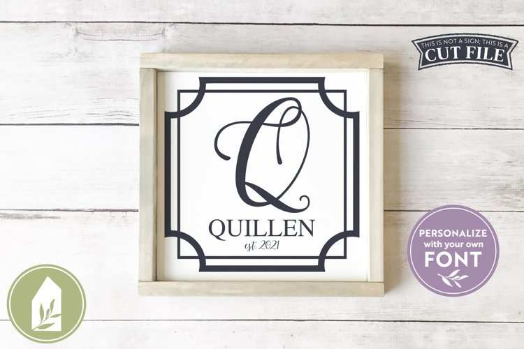 Square Border SVG Files, Family Name Wood Sign or Pillow SVG example image 1