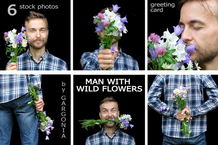 Handsome man with bouquet of wild flowers 6 Stock Photos