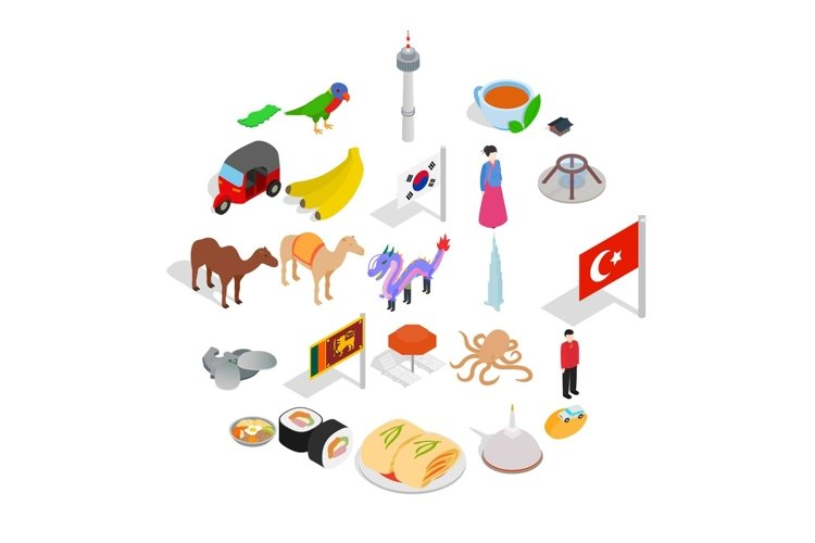 Relax in asia icons set, isometric style example image 1