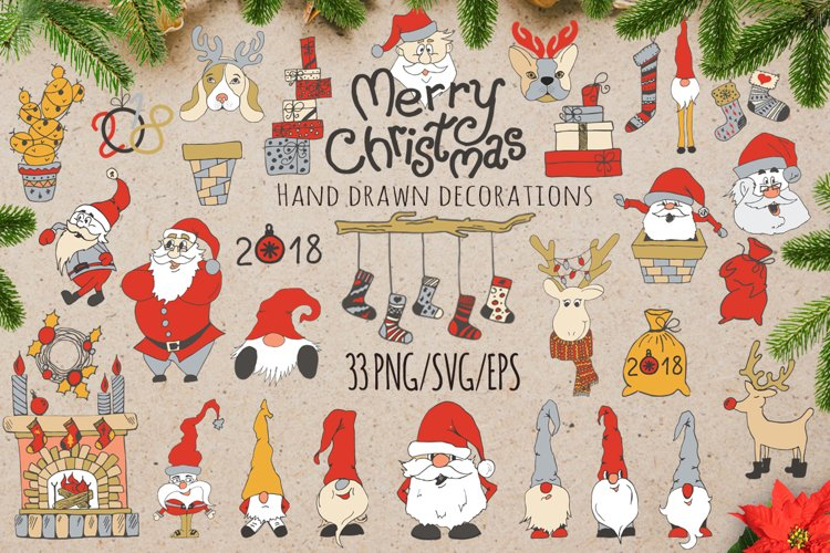 Merry Christmas decoration Set with cute Santa SVG Cut files