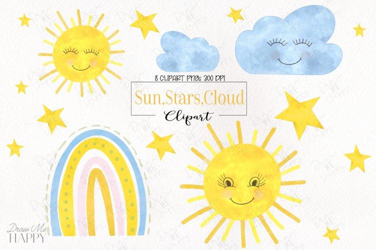 Watercolor Sun Clipart, Cloud Clipart, Star Clipart, Rainbow