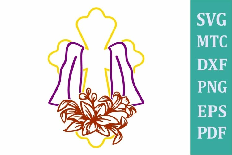 Easter Religion Cross #02 with Lilly Flower Outline SVG Cut