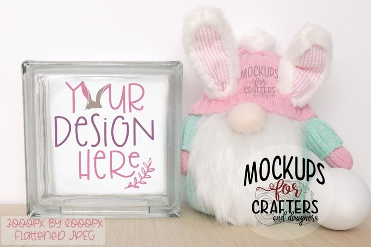 GLASS BLOCK Mock-Up - Spring, Easter, Gnome