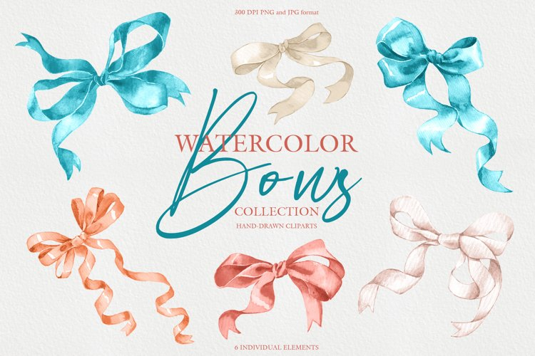 Watercolor bows collection example image 1