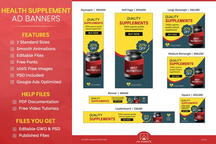 Health Supplement Banner Ad Templates example image 1