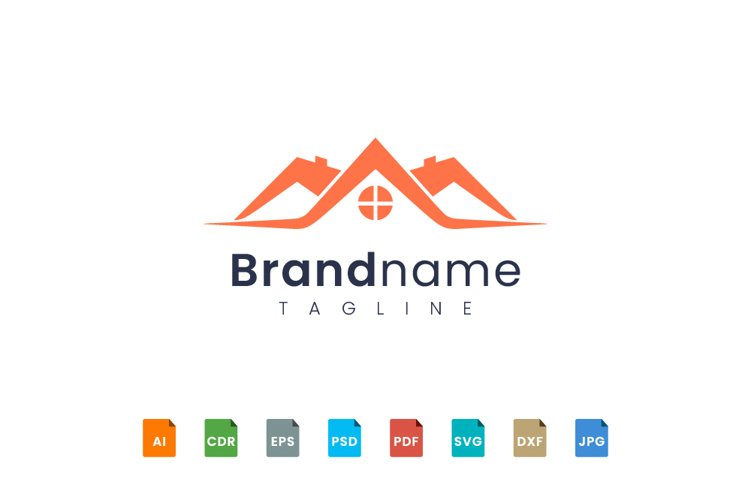 Minimalist and flat home logo design example image 1