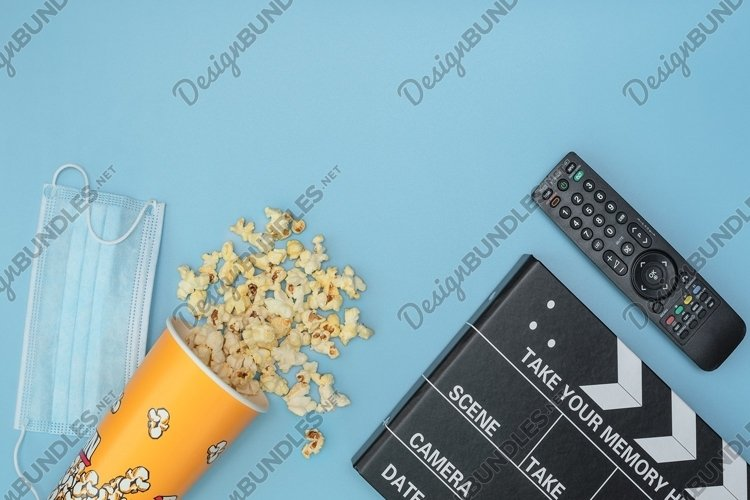 Medical protective mask, popcorn, movie clapper board example image 1
