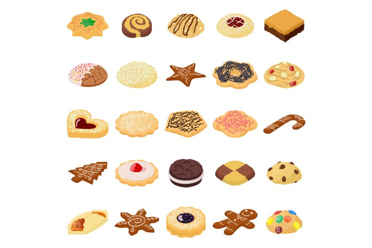 Cookies biscuit icons set, isometric style example image 1