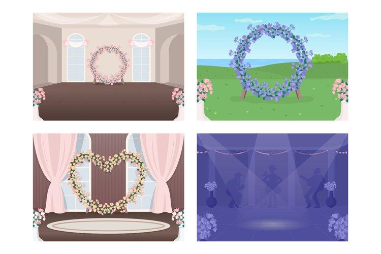 Decorated wedding venue flat color vector illustration set example