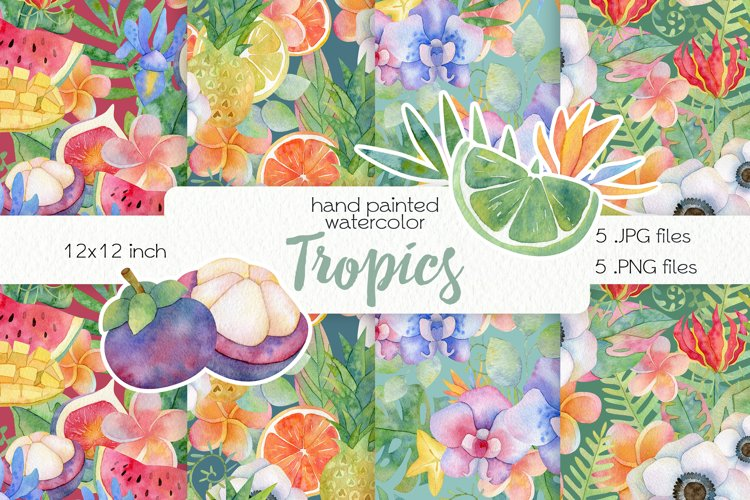 Watercolor Tropics. Seamless Patterns example image 1