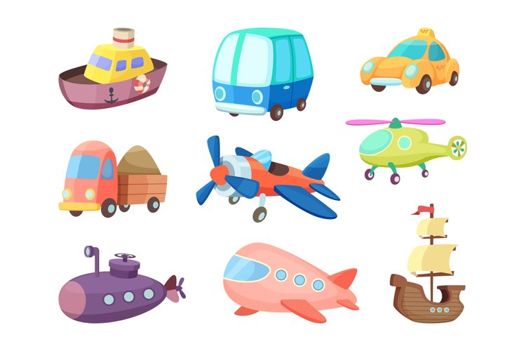 Cartoon illustrations of various transportation. Airplanes,
