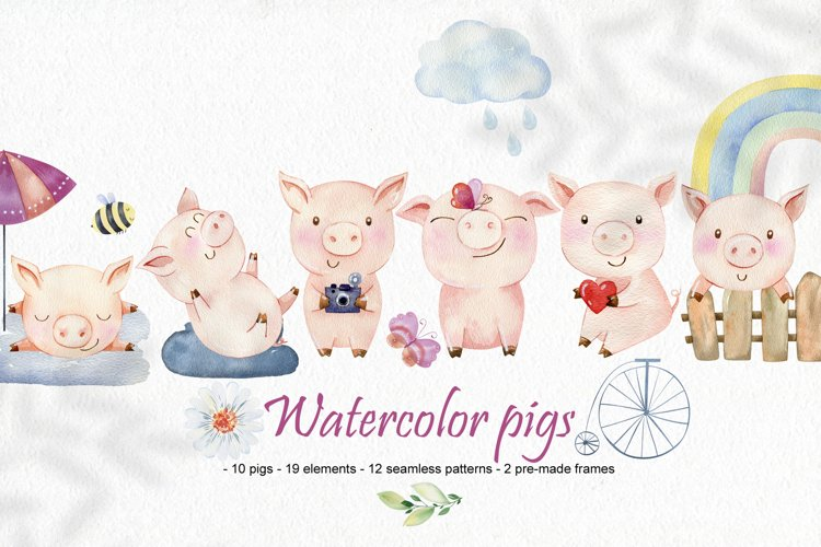 Watercolor pigs.
