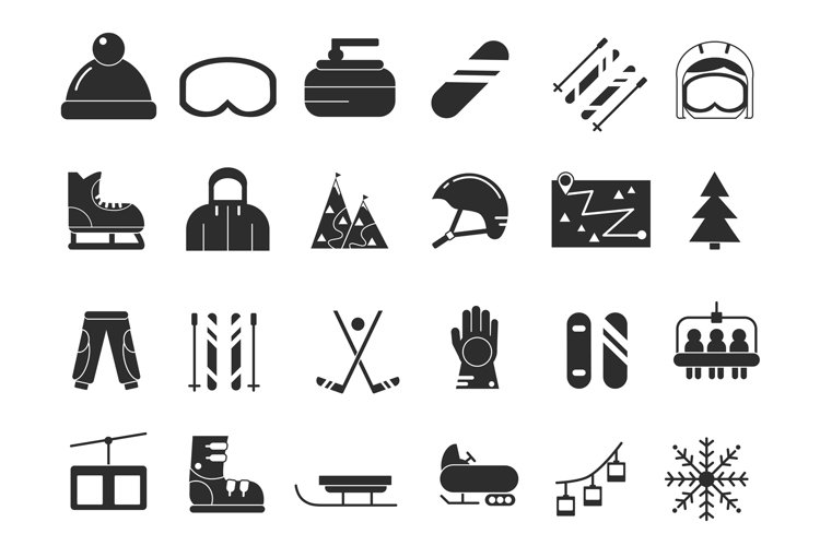 Monochrome icon set of winter sport. Vector black pictures example image 1