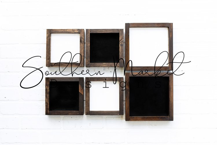 6x6 8x8 Wood Sign Mock Up Collage Farmhouse Styled P example image 1