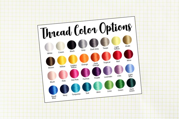 Embroidery Thread Basic Colors Swatch Chart
