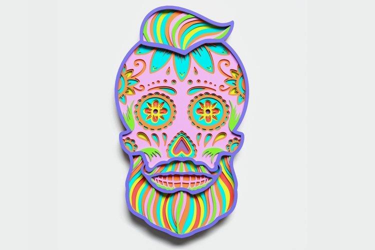 Multilayer Sugar Skull Mandala - S3, for cutting machines