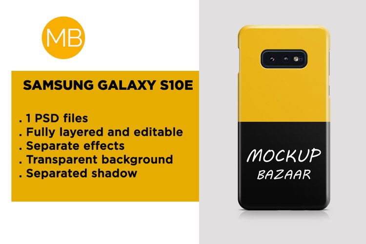 Samsung Galaxy S10E 3d Phone Case Mockup Back View example image 1