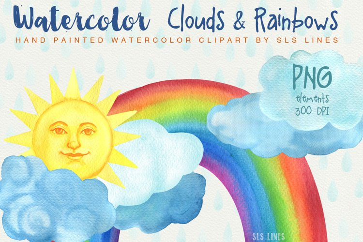 Rainbow & Clouds Watercolors PNG example image 1
