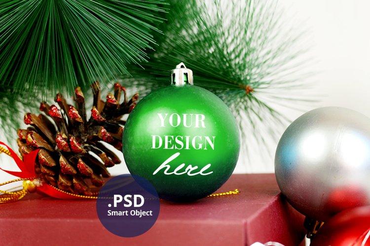 Ornament Mockup, Green Bauble Mockup, Christmas ball mock up example image 1