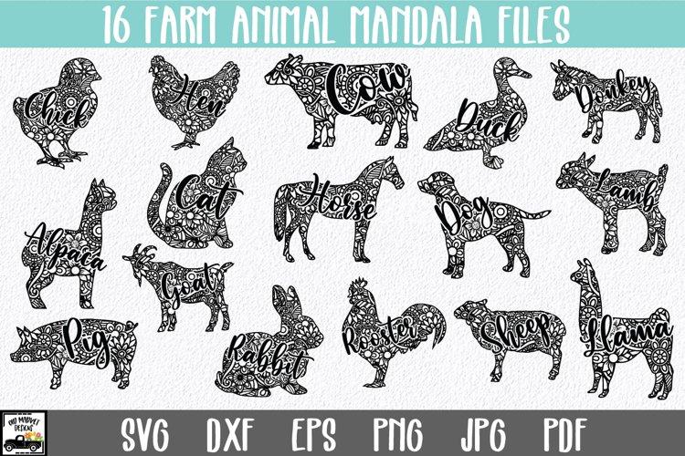 Farm Animal Mandala SVG Bundle - 16 Mandala Animals
