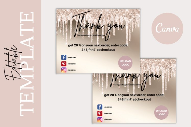 Luxury Champagne Dripping Glitter Business Thank You Card