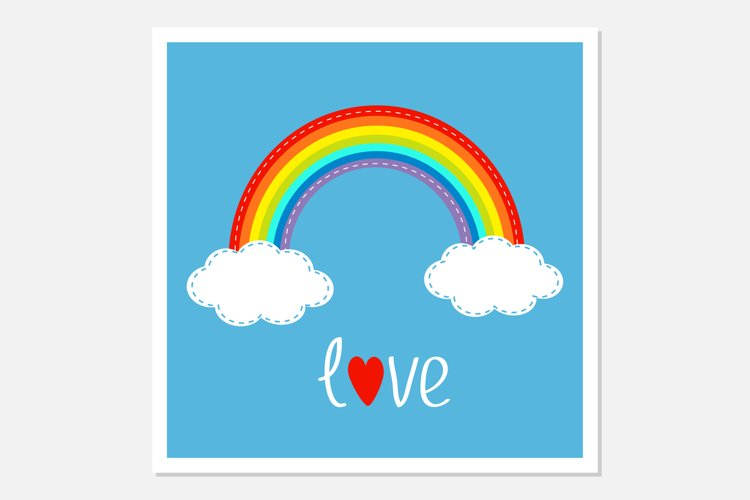 Rainbow and two clouds in the sky. Love. Vector illustration example image 1