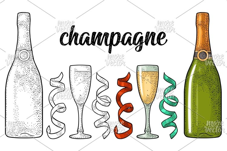 Champagne calligraphic handwriting lettering. Glass, bottle, serpentine. Vintage vector engraving