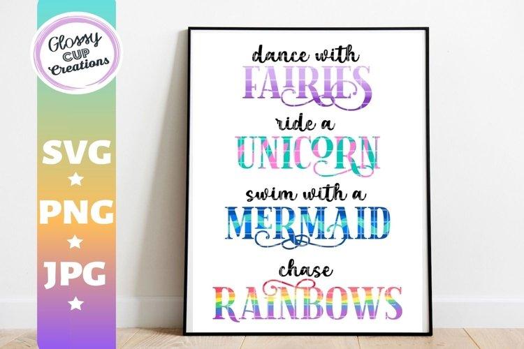Fairies Unicorn Mermaid Rainbows - SVG PNG JPG example image 1