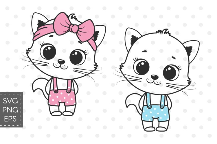 Cute Cat clipart, boy and girl, PNG, SVG, EPS example image 1