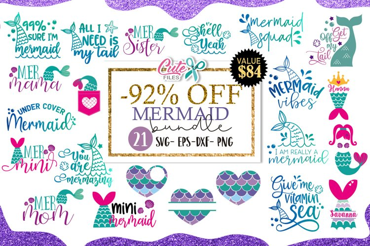 Mermaid bundle svg cut file for crafters example image 1