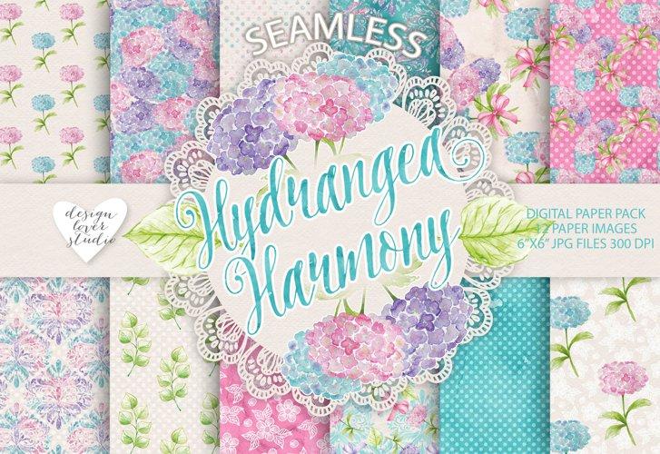 Watercolor Hydrangea flowers digital paper