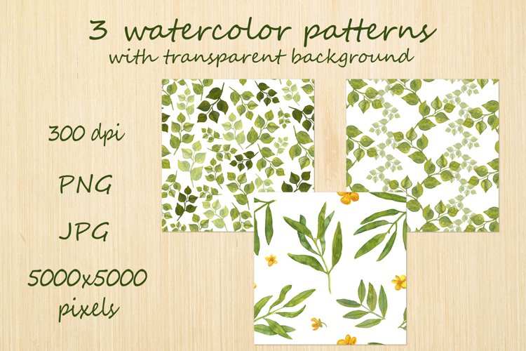 Watercolor greenery seamless pattern of leaves example image 1