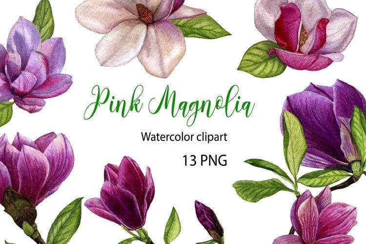 Pink watercolor magnolia digital clipart