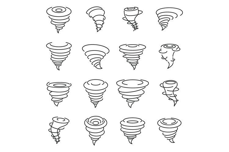 Tornado air icons set, outline style example image 1