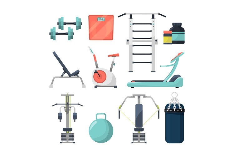 Different fitness items for gym. Illustration of equipment f example image 1