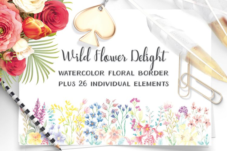 Wild Flower Delight - watercolor floral border plus elements