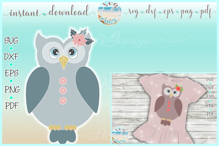 Girly Owl with Poinsettia Christmas SVG Dxf Eps Png PDF example image 1