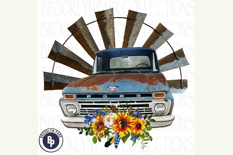 Vintage Ford Truck, Sunflowers, Windmill, Sublimation PNG example image 1