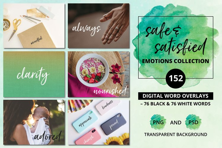 Social Media Overlays - 152 Safe & Satisfied Emotions Words