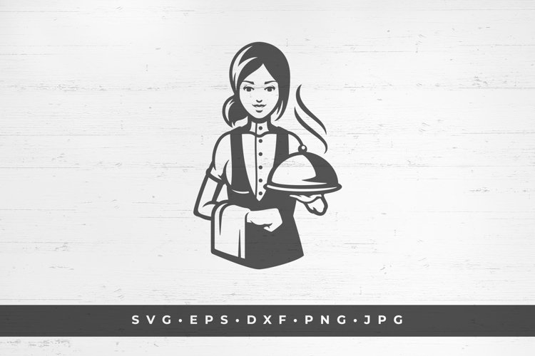 Waitress with a dish icon silhouette isolated on white example image 1