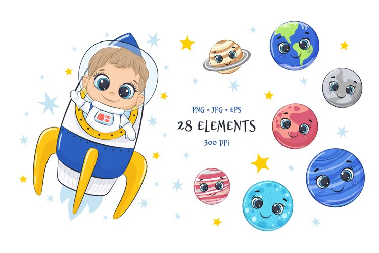 Space Clipart with Astronaut and Planets of Solar System