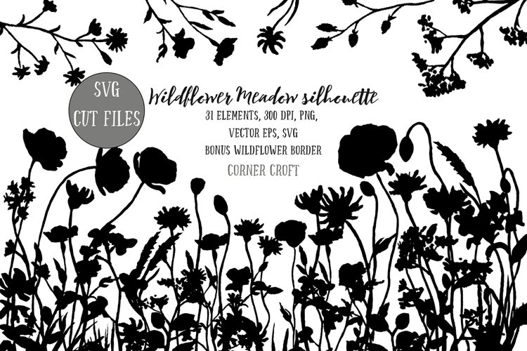 Wildflower meadow illustration silhouette, PNG, SVG and EPS example image 1