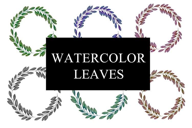 watercolor wreath leaf