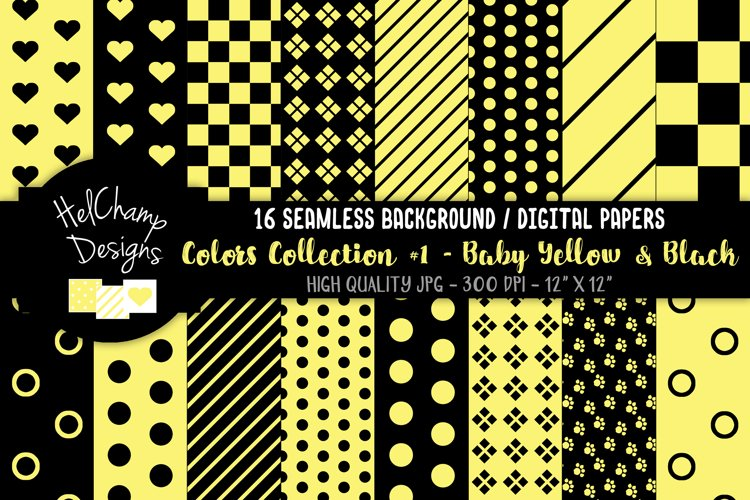 16 seamless Digital Papers - Baby Yellow and Black - HC093