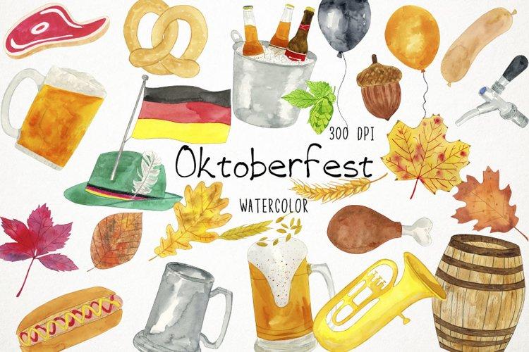 Watercolor Oktoberfest Clipart, Oktoberfest Clip Art, Beer example image 1