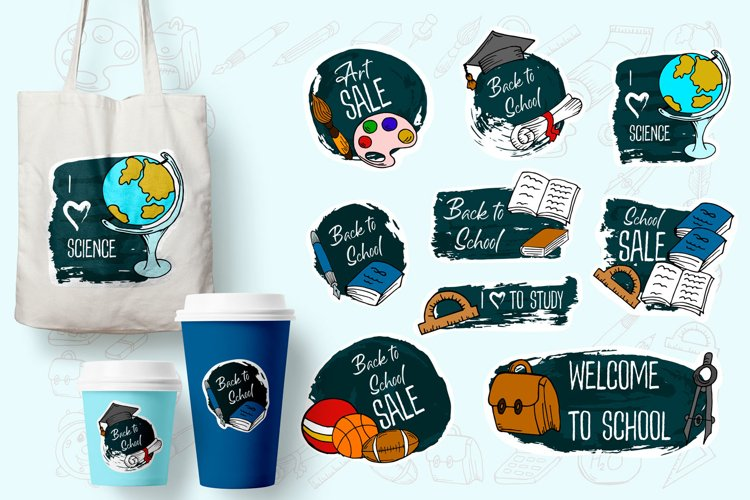 Big set of back to school labels, pins, stickers example image 1