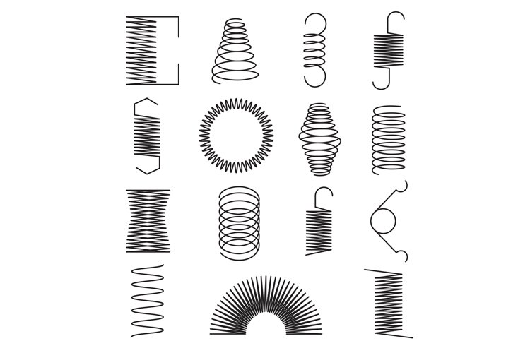 Metal spring icons. Flexible spiral lines, steel wire coils example image 1