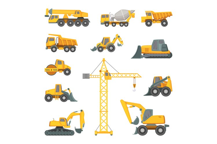 Heavy construction machines. Excavator, bulldozer and other example image 1