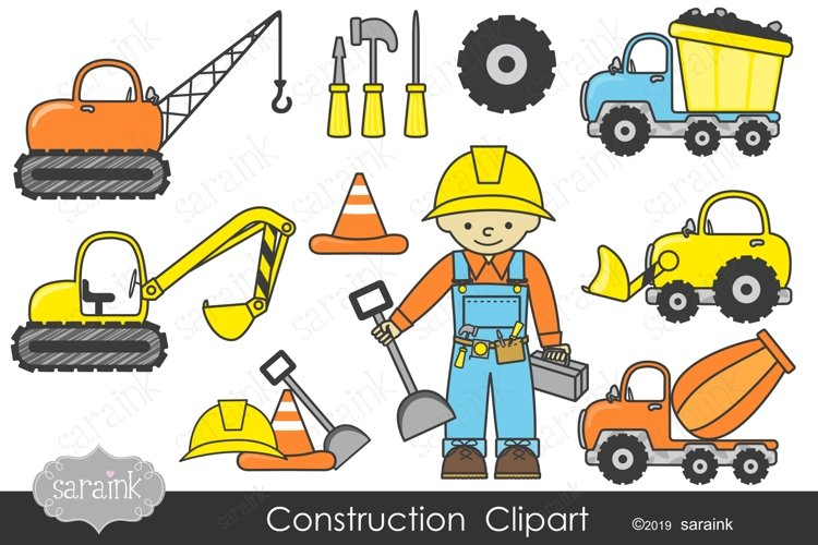 Construction Clipart & Digital Papers example image 1
