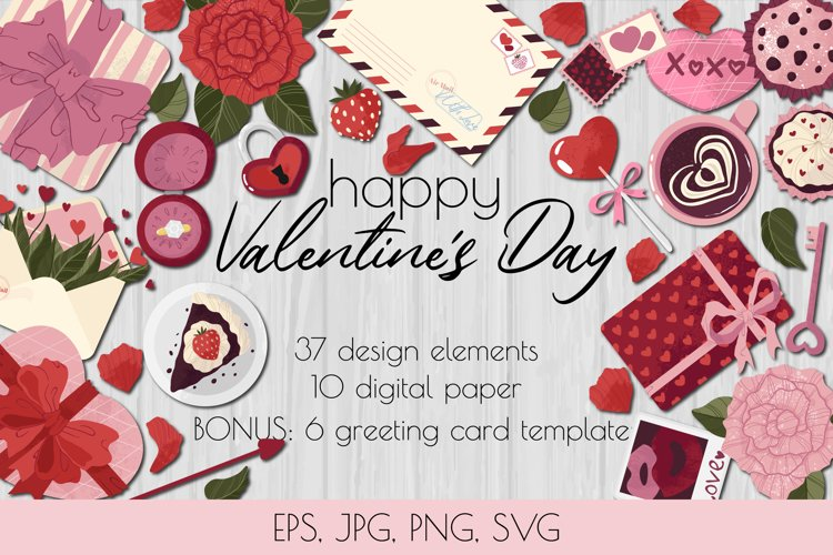 Valentines Day Bundle Cartoon flat style - EPS JPG PNG SVG